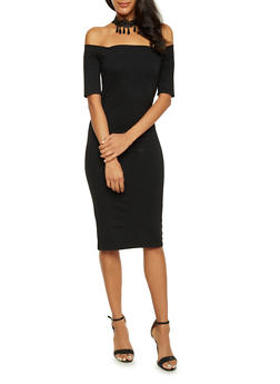 Off The Shoulder Midi Dress with Choker Necklace - BLACK - 3410058605218
