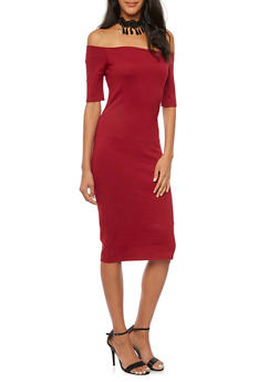Off The Shoulder Midi Dress with Choker Necklace - RED RUBY - 3410058605218