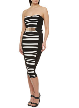 Striped Tube Midi Dress with Attached Plate Belt - 3410058606044