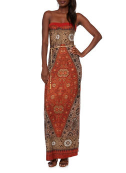 Strapless Maxi Dress in Ornate Print with Chain Belt - 3410058606047