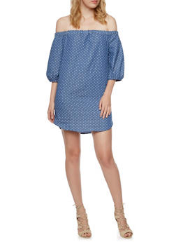 Chambray Off the Shoulder Mini Dress in Polka Dot - 3410058606106
