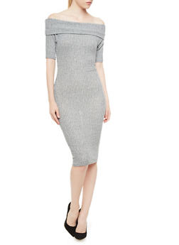 Marled Ribbed Off-the-Shoulder Bodycon Midi Dress with Short Sleeves,GRAY,medium