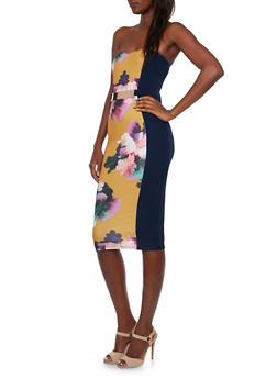 Sweetheart Bodycon Midi Dress with Floral Print and Belt - 3410058609344