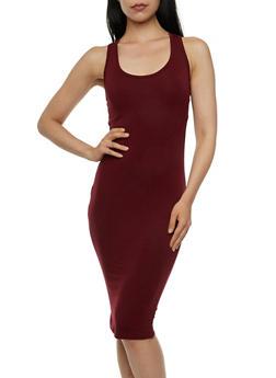 Solid Jersey Racerback Midi Dress - 3410061350333