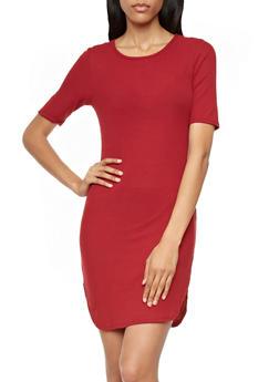 Finely Ribbed T-Shirt Dress With Rounded Hem,BURGUNDY,medium