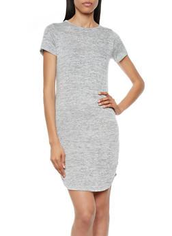 Heathered Knit T-Shirt Dress With Curved Hem,CHARCOAL,medium