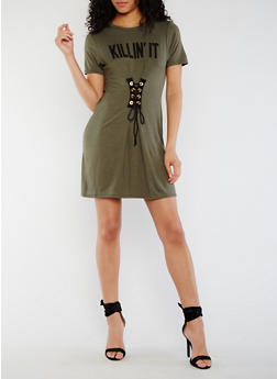Killin It Graphic Lace Up T Shirt Dress - OLIVE - 3410061353021