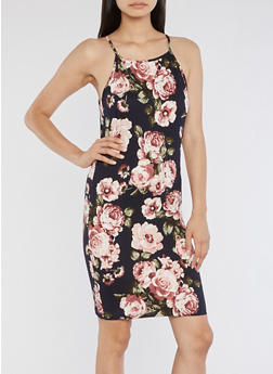 Large Floral Pattern Bodycon Dress - 3410061353208