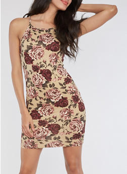 Sleeveless Rose Bodycon Dress - 3410061353300