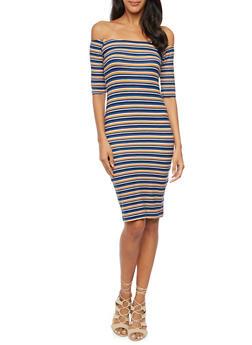 Off the Shoulder Dress in Stripes - 3410061353346