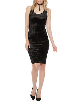 Sleeveless Velvet Dress - BLACK - 3410061353374