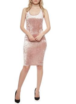 Sleeveless Velvet Racer Back Bodycon Dress - 3410061353374
