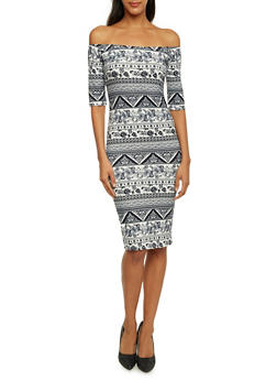 Off The Shoulder Midi Dress in Ornate Paisley Print - 3410061353420