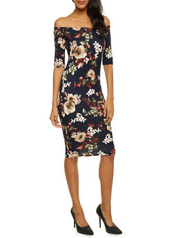 Off The Shoulder Midi Dress in Floral Print - 3410061353446