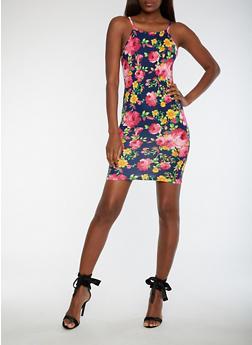 Floral Print Tank Dress - 3410061354331