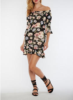 Floral Off the Shoulder Flounce Hem Dress - 3410061354441