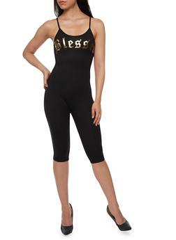 Blessed Graphic Capri Catsuit - BLACK - 3410061354458