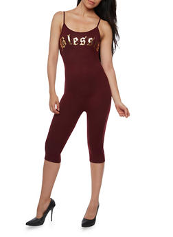 Blessed Graphic Capri Catsuit - BURGUNDY - 3410061354458