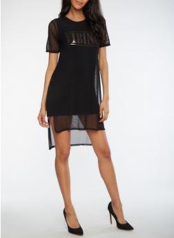 Vibing Graphic Mesh Dress - 3410061354481