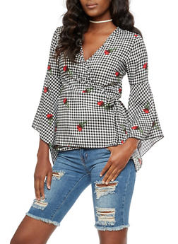 Floral Gingham Wrap Top - 3410061355250