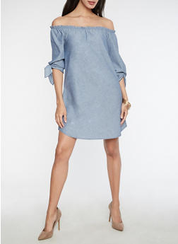 Off the Shoulder Chambray Dress with Tie Sleeves - 3410061355351