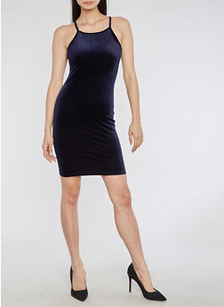 Velvet Tank Bodycon Dress - 3410061357165