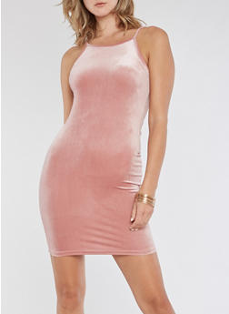 Velvet Tank Bodycon Dress - MAUVE - 3410061357165