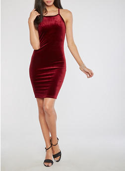 Velvet Tank Bodycon Dress - BURGUNDY - 3410061357165
