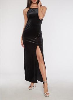 Velvet Maxi Dress - BLACK - 3410061357271