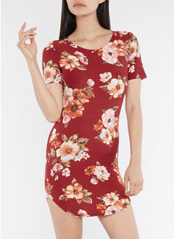 Short Sleeve Floral Print Round Hem Dress - 3410061358802