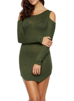 Knit Cold Shoulder Dress with Long Sleeves - 3410061358888