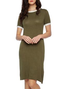T-Shirt Dress with Contrast Trim - 3410061358904