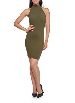 Bodycon Mini Dress with Halter Neck - 3410061358945