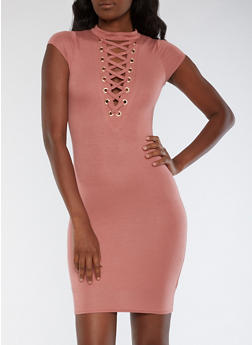 Short Sleeve Lace Up Bodycon Dress - MAUVE - 3410062700645