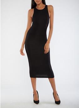 Sleeveless Solid Midi Dress - 3410062700646