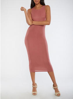 Sleeveless Solid Midi Dress - 3410062700646