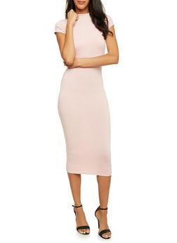 Bodycon Midi Dress with Cap Sleeves - BLUSH - 3410062700716