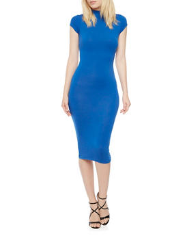 Bodycon Midi Dress with Cap Sleeves - 3410062700716