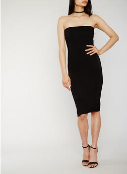 Solid Strapless Bodycon Dress - 3410062701781
