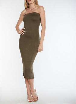 Strapless Solid Bodycon Dress - 3410062701818