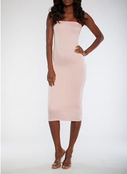 Strapless Solid Bodycon Dress - MAUVE - 3410062701818