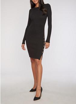 Long Sleeve Rib Knit Dress with Snap Detail - BLACK - 3410062702707