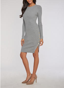 Long Sleeve Rib Knit Dress with Snap Detail - 3410062702707