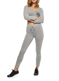 Killin It Graphic Hooded Crop Top and Knit Pants Set - 3410062702807