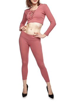 Hooded Lace Up Crop Top and Knit Leggings Set - 3410062703811