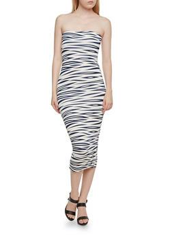 Printed Strapless Midi Dress - 3410062705622