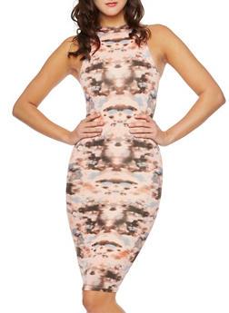 Sleeveless Midi Bodycon Dress with Tie-Dye Print - 3410062705623
