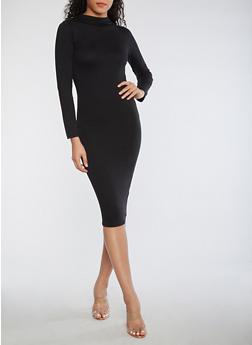 Solid Mock Neck Bodycon Dress - 3410062705628