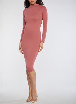 Solid Mock Neck Bodycon Dress - 3410062705628