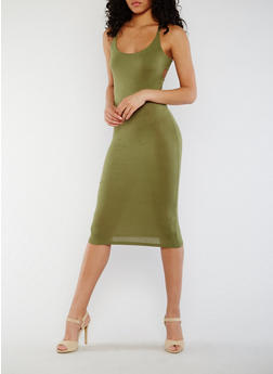 Solid Criss Cross Back Dress - OLIVE - 3410062705631